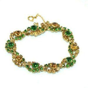 Green Topaz Glass Rhinestone Twist Gold Tone